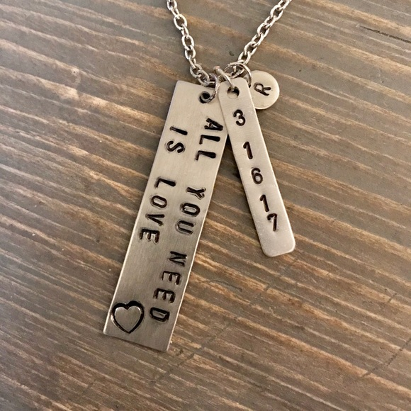 handmade Jewelry - Hand stamped custom All You Need Is Love necklace